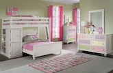 Kids Furniture-The Riley II White Collection-Riley II White Loft Bed with Full Bed