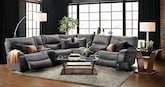 Living Room Furniture-The Denver Gray Collection-Denver Gray 6 Pc. Power Reclining Sectional
