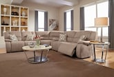 Living Room Furniture-The Fortuna II Beige Collection-Fortuna II Beige 3 Pc. Power Reclining Sectional