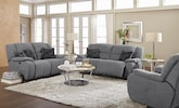 Living Room Furniture-The Fortuna Gray Collection-Fortuna Gray Power Reclining Sofa