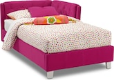 Kids Furniture-Taylor Pink Twin Corner Bed