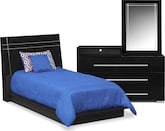 Kids Furniture-Prima II Black 5 Pc. Twin Bedroom