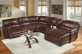 Living Room Furniture-The Clinton Burgundy Collection-Clinton Burgundy 6 Pc. Power Reclining Sectional