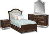 Kids Furniture-Samantha 7 Pc. Twin Bedroom with Trundle