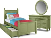 Kids Furniture-Mayflower Green 6 Pc. Full Bedroom with Trundle