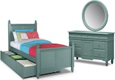 Kids Furniture-Mayflower Blue 6 Pc. Twin Bedroom with Trundle