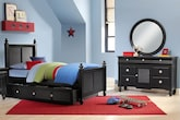 Kids Furniture-Mayflower Black 6 Pc. Twin Bedroom with Trundle