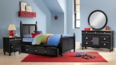 Kids Furniture-Mayflower Black 7 Pc. Full Bedroom with Trundle