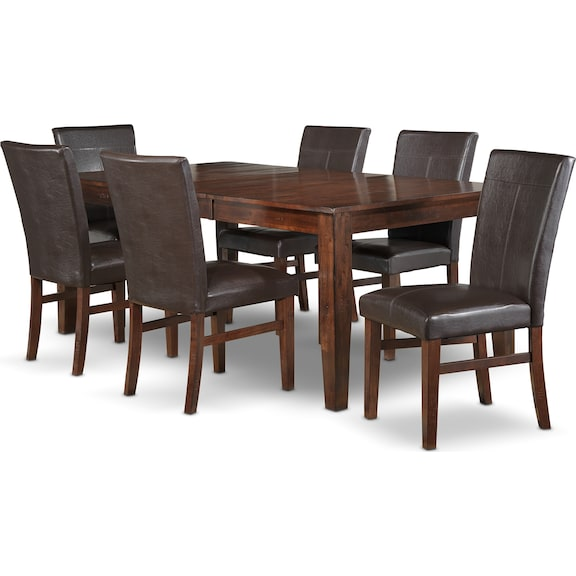 Kona 7 pc dining room package leon 39 s for Furniture 3 room package