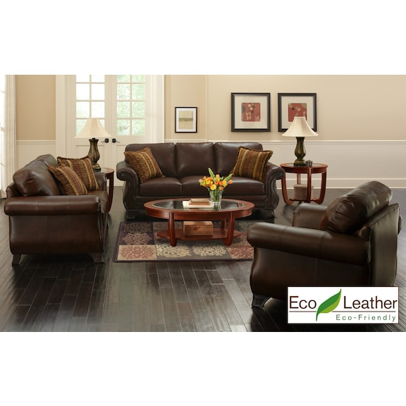 3 Piece Leather Living Room Set from The RoomPlace – The RoomPlace