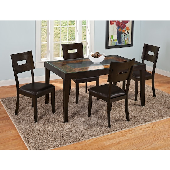 Cyprus dining room collection value city furniture for Dining room tables value city