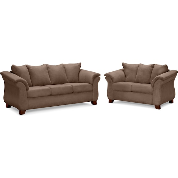 Living Room Furniture Adrian Taupe 2 Pc Living Room
