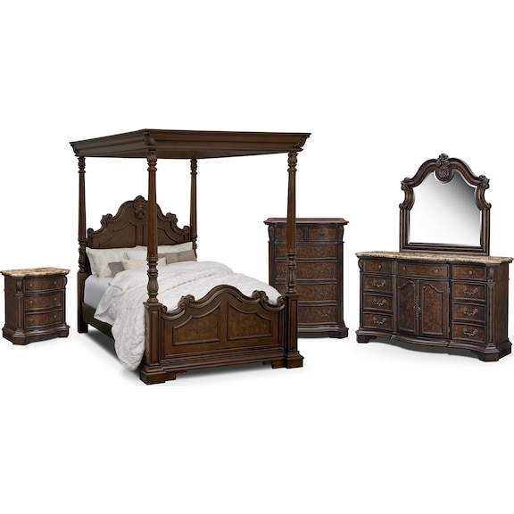 monticello pecan canopy bedroom collection value city furniture