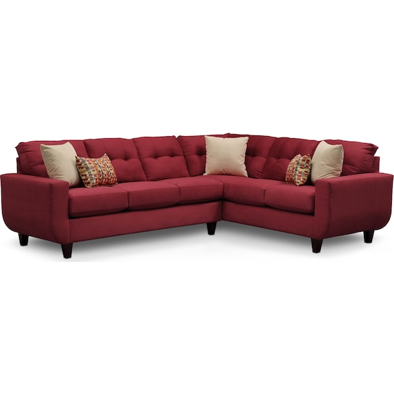 West Village Red II 2 Pc Sectional American Signature Furniture