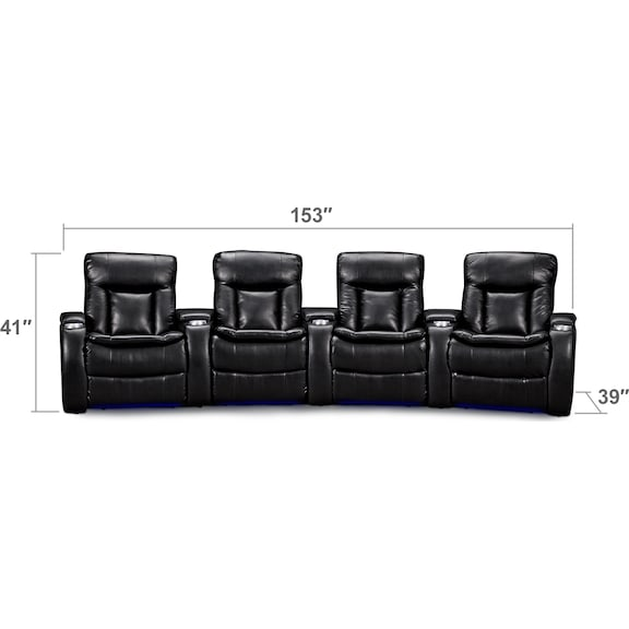 Living Room Furniture - Larson 4 Pc. Power Reclining Home Theater Sectional