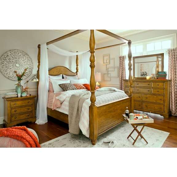 american signature furniture carlyle oak canopy bedroom collection