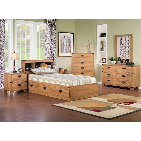 Kids furniture driftwood 7 piece mates bedroom package for Furniture 3 room package
