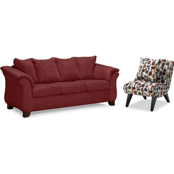 Living room furniture adrian red 2 pc living room w accent chair