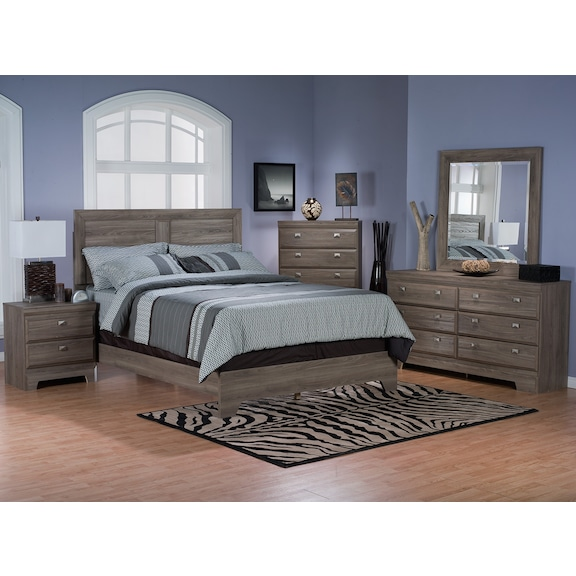 Bedroom furniture yorkdale light 7 piece queen panel for Furniture 3 room package