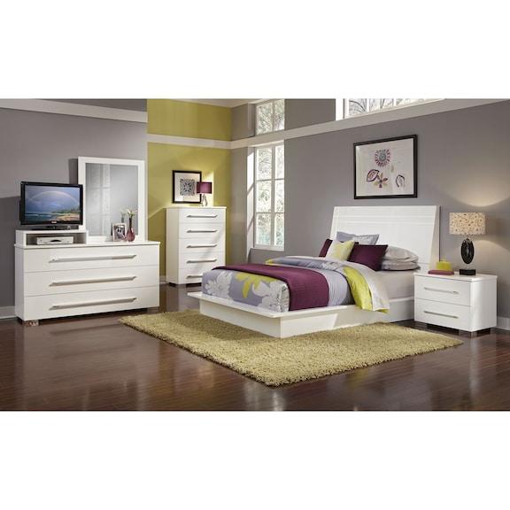 Bedroom Furniture Dimora White II 7 Pc King Bedroom