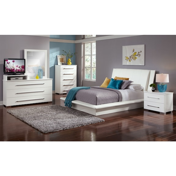 Bedroom Furniture Dimora White 7 Pc King Bedroom
