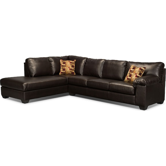 Morty bonded leather sectional with left chaise brown for Bonded leather sectional with chaise