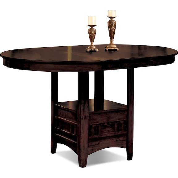 Dining room furniture dalton chocolate counter height table for The brick kitchen tables