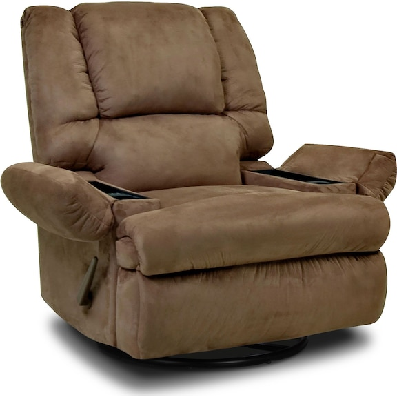 Designed2B Recliner 5598 Padded Suede Swivel Glider With Storage Arms Mocha
