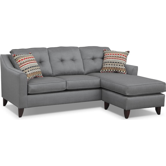 Living Room Furniture  Marco Gray Chaise Sofa
