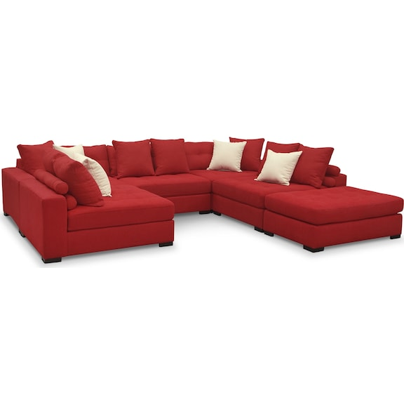 Living room furniture venti red 6 pc sectional for 6 pc sectional living room